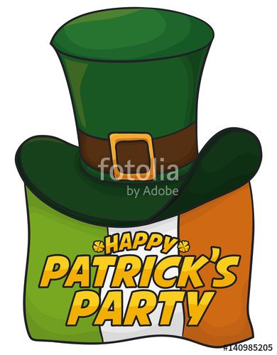 Irish Flag and Leprechaun's Hat Celebrating St. Patrick's Day