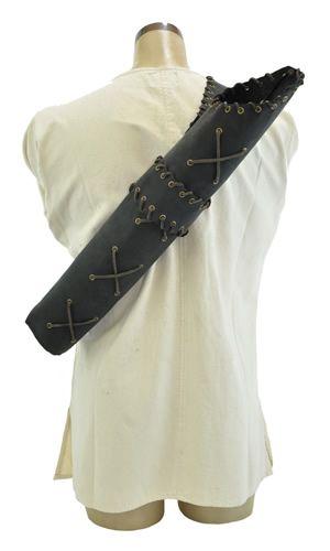 LARP Leather laced quiver --- Carquois lacé en cuir pour GN