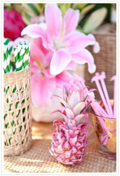 Mini painted pink pineapple: http://www.stylemepretty.com/living/2015/08/04/the-right-way-to-slice-a-pineapple/