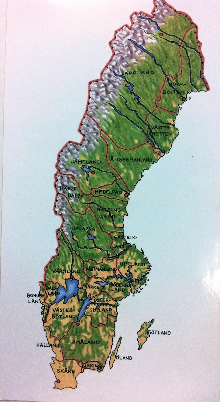 Sveriges karta med landskap