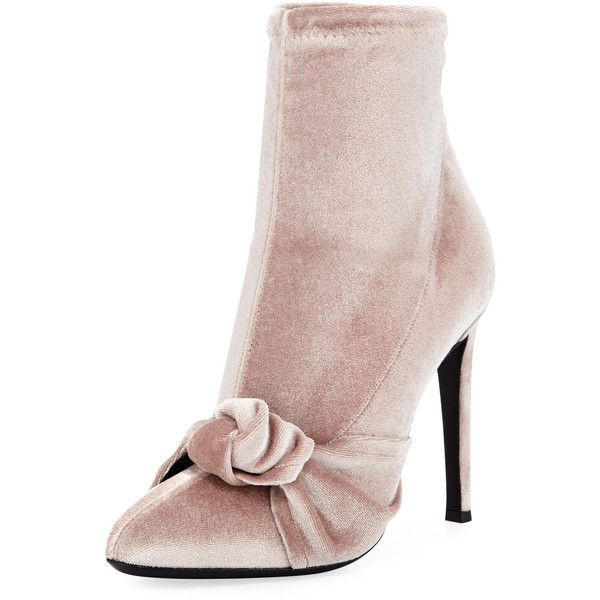 Giuseppe Zanotti Stretch Velvet 110mm Bootie ($795) ❤ liked on Polyvore featuring shoes, boots, ankle booties, pink, giuseppe zanotti bootie, slip on ankle boots, pink boots, velvet boots and pink ankle boots