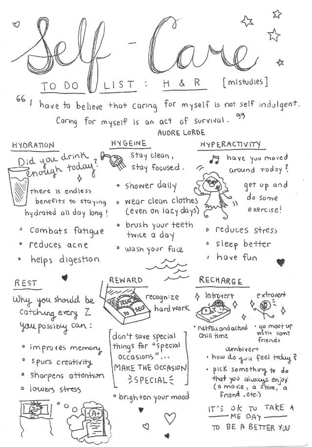 Ideas to take care of yourself ...