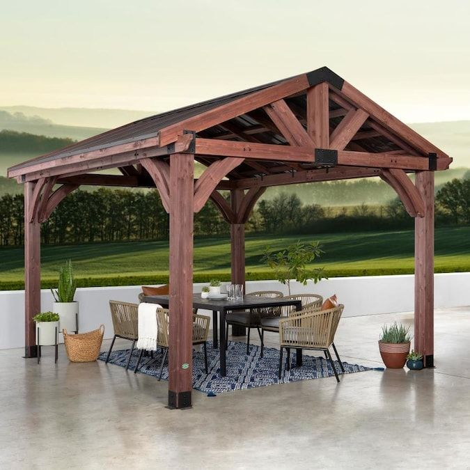 Backyard Discovery Brown Wood Square Gazebo With Steel Roof Exterior 12 1 Ft X 13 5 Ft Foundation 12 Ft X 12 Ft Lowes Com Patio Gazebo Backyard Pavilion Backyard Pergola