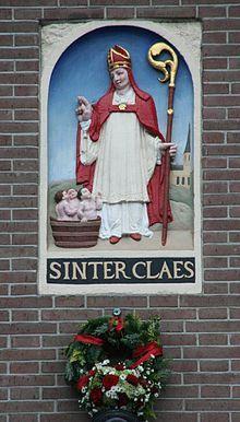 Sinter Claes en de drie jongens, die hij tot leven zou hebben gebracht. 16e eeuwse afbeelding op de Dam. St. Nicolaas is de patroon van Amsterdam.