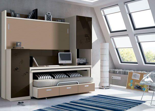 Juvenil con mueble compacto abatible autoportable.Elmenut