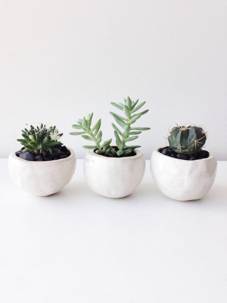 """3 White Planter Balls M Set """"Milky White"""" Planter Pot Cover READY TO SHIP by seasonsforyou on Etsy https://www.etsy.com/listing/214217770/3-white-planter-balls-m-set-milky-white"""