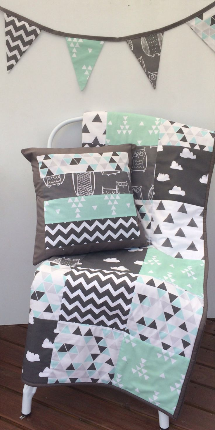 Grey Aqua Mint and Black Patchwork Cot / Crib Quilt with Cushion Cover & Bunting Flags Available by Danoah on Etsy https://www.etsy.com/listing/195434747/grey-aqua-mint-and-black-patchwork-cot