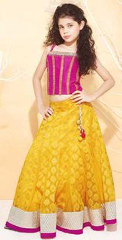 Little Girls Kids Sharara Lehenga Choli 2015 Indian Designs Yellow Pink