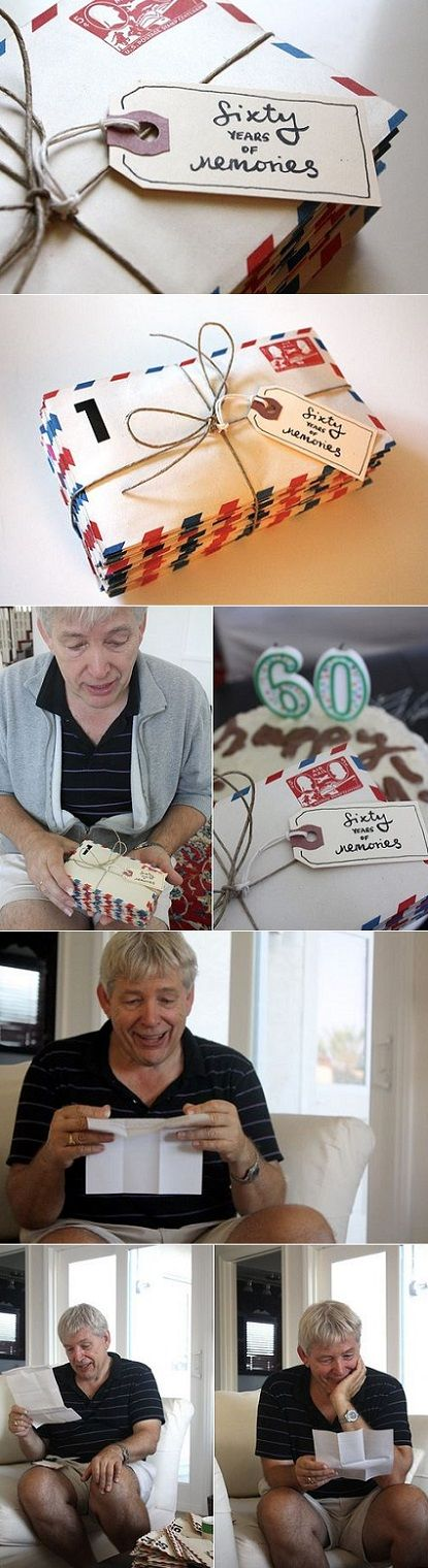 exPress-o: 60 Years of Memories. Girl tracks down dad's friends and family, gets them to write a letter to him with memories, then gives them to him on 60th. Priceless!