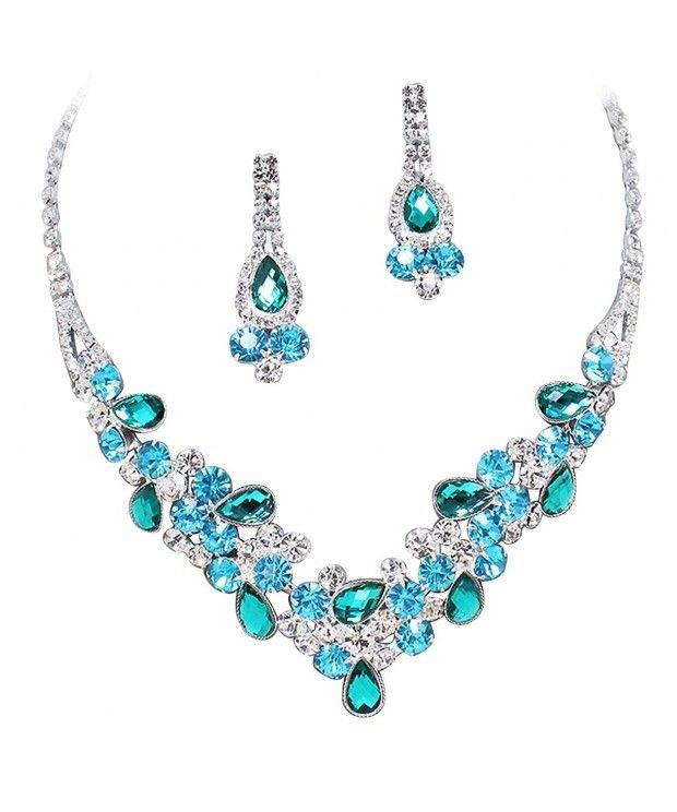 ad8989ebdb5253 Elegant Multi Turquoise Green & Sky Blue V-Shaped Garland Prom Bridesmaid  Necklace Set K4 CS11P9GEFJJ - Jewelry Sets #JewelrySets #Jewelry #Sets # Jewelry # ...