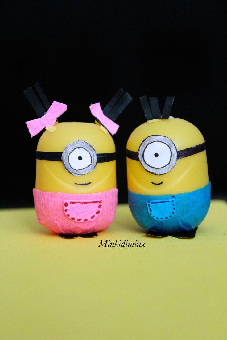 Minion Craft Idea - DIY - Minions - Despicable Me - Itse ilkimys - Easter eggs - Plastic Eggs - Kinder surprise craft idea - Kids Craft