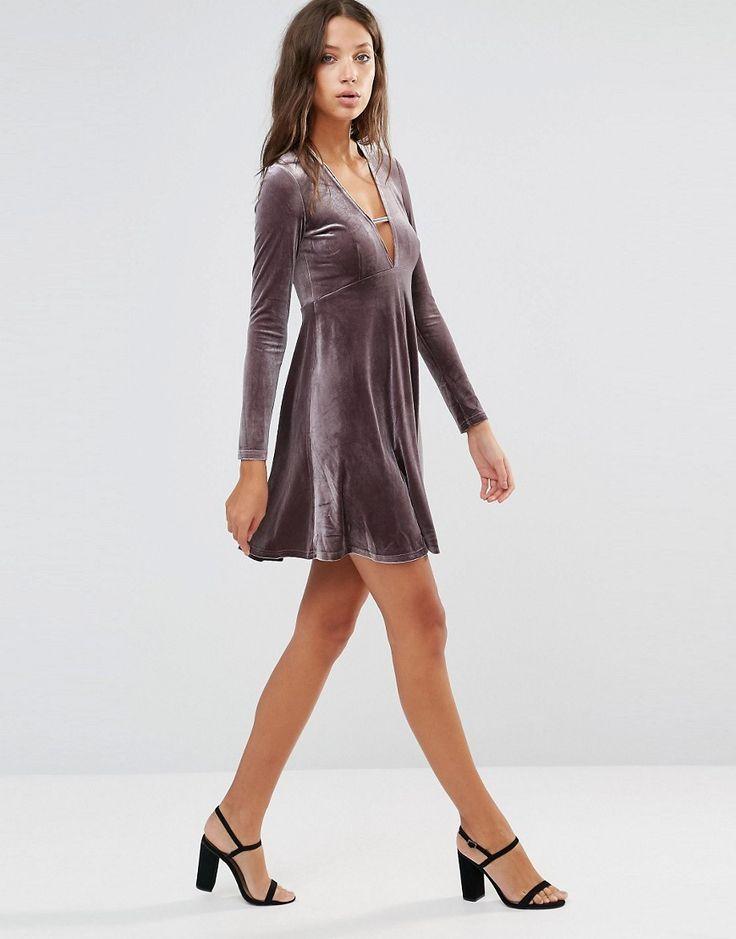 Glamorous Tall Long Sleeve Crinkle Velvet Skater Dress With Plunge Neck Detail at asos.com