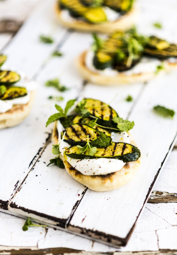 Flatbreads with Grilled Zucchini dressed in Lemon and Hemp Seed Oil