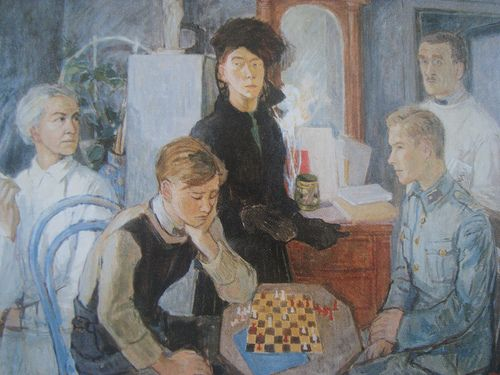 A family portrait painted by Tove Jansson, depicting her family during the tense war period. Her mother sits to the far left, and her father stands in the background on the right. Her brothers sit in the foreground. Tove herself stands in the centre but in the background. The atmosphere is somber; everyone looks in different directions.