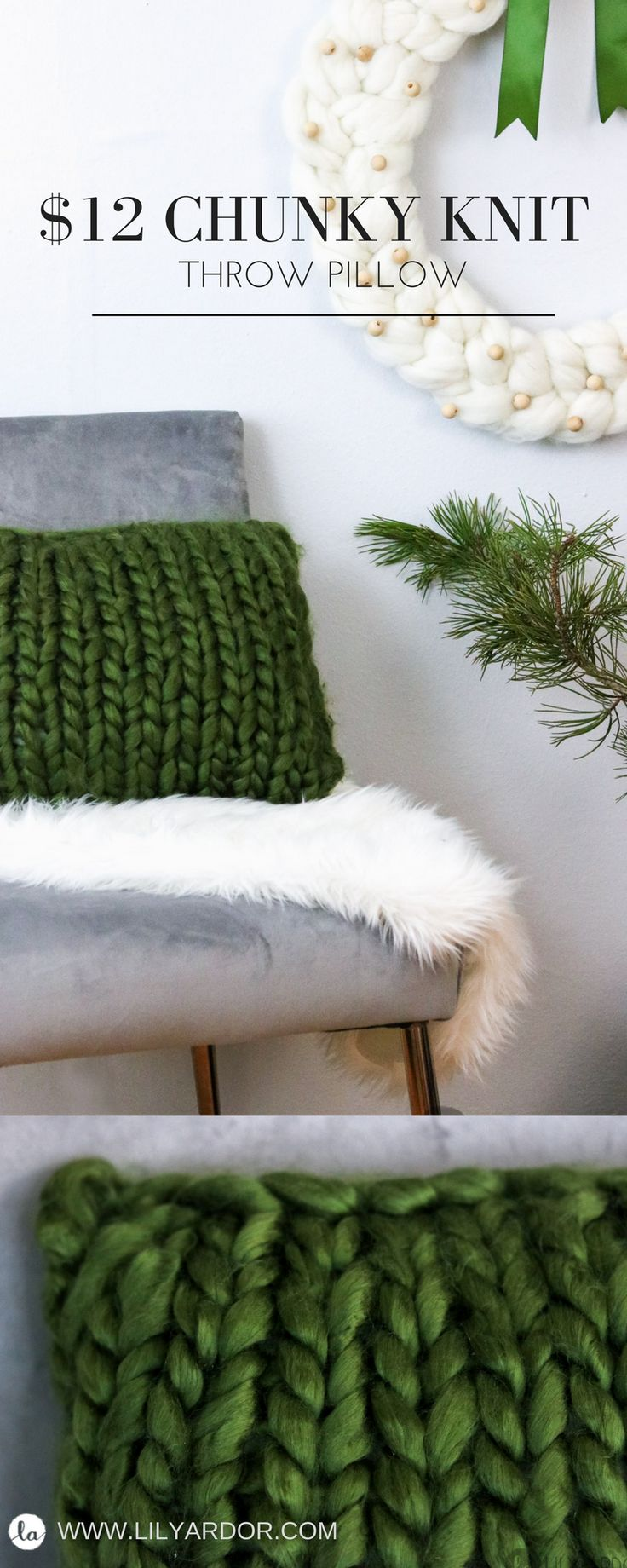 Skip a trip the the homedecor store and make your own chunky knit pillows for only $12 each. Beats $60 any day!
