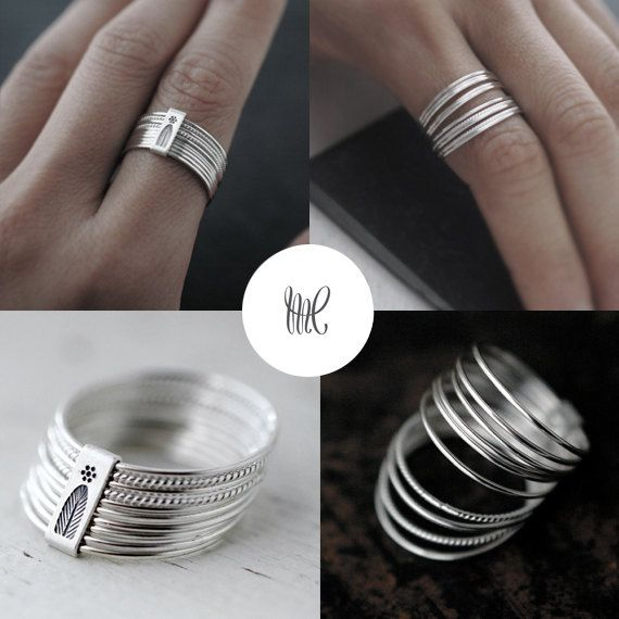10 twist and turn silver stacking rings van Minicyn op Etsy
