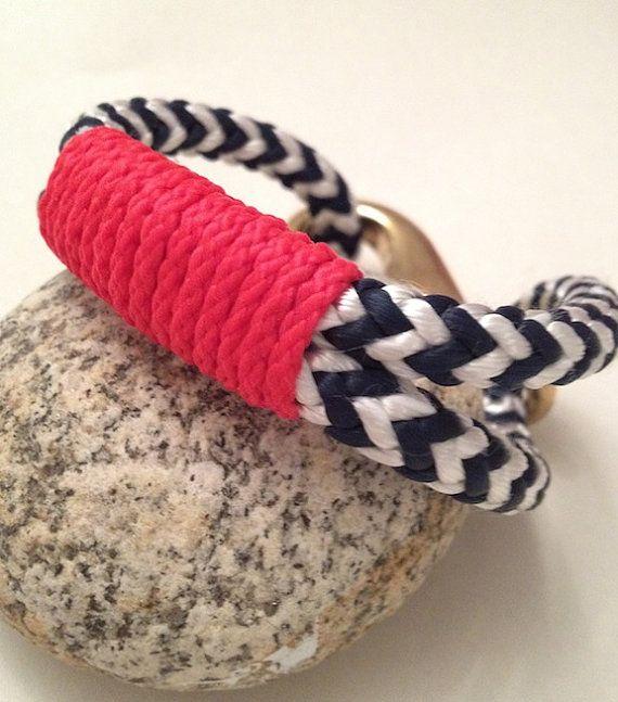 navy & white nautical rope bracelet via buoy6 on etsy