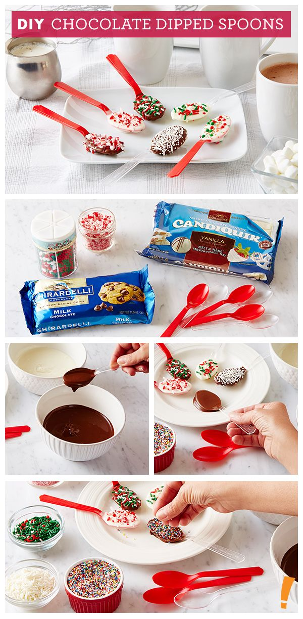 Get creative with your chocolate dipped spoons like sprinkles, coconut or crushed peppermint!