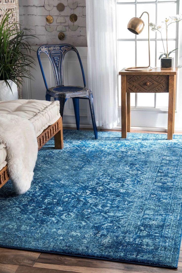 rug for living room size%0A Herminia Vintage Trellis Blue Area Rug  Size   u