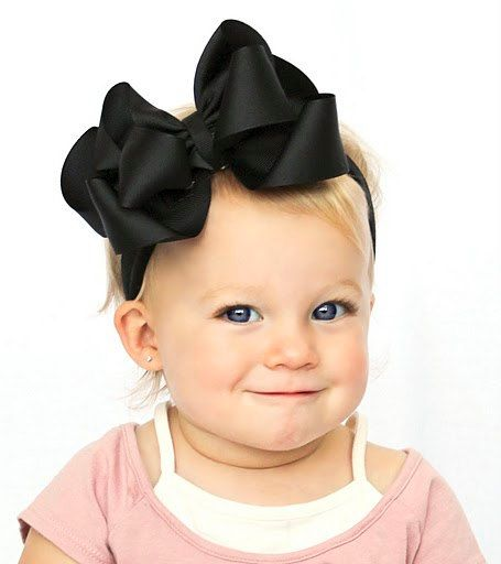 boutique double layered BIG BLACK hair bow on a by andjane on Etsy, $7.99