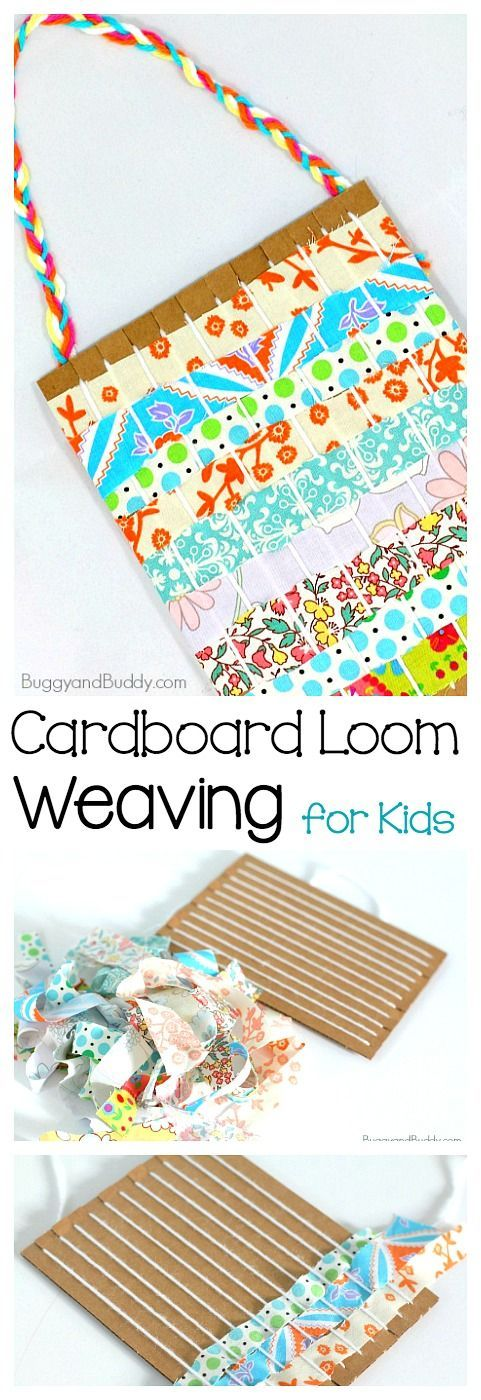 Weaving with a Cardboard Loom and Fabric Strips- Fun art project and craft for kids encouraging fine motor practice and hand-eye coordination! ~ BuggyandBuddy.com