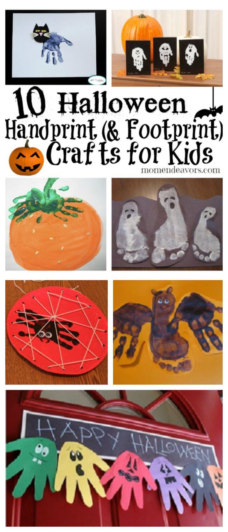 10 Halloween Handprint & Footprint Crafts for Kids! #Halloween