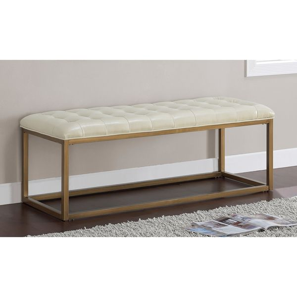 Retro Glitz Healy Bonded Leather Upholstered Bench | Overstock.com