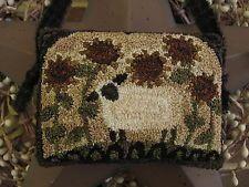 "Primitive Punch Needle ~""Sunflower Sheep"" ~ Folk Art ~ Cupboard Hanger ~ Pinkeep"