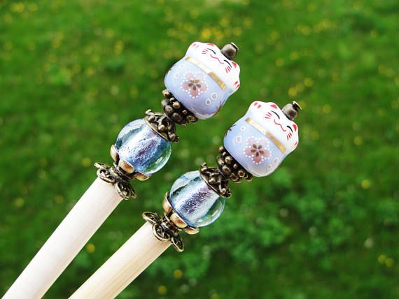 Set of 2 japanese wooden hair sticks with maneki neko, fortune lucky cat and light blue beads - kanzashi, chopsticks, pins, hair ornaments