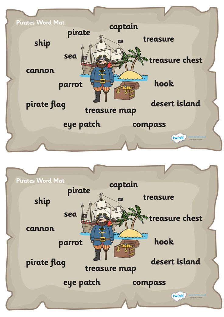 Twinkl Resources >> Pirate Word Mat  >> Thousands of printable primary teaching resources for EYFS, KS1, KS2 and beyond! word mat, writing aid, pirate, treasure, ship, jolly roger, island, ocean, terminology,