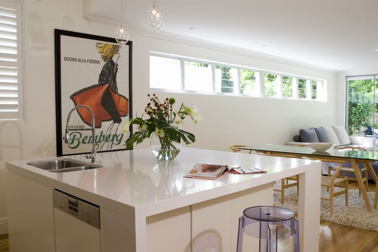 Square island Kitchen with open plan living and dining. Brooke Aitken Design