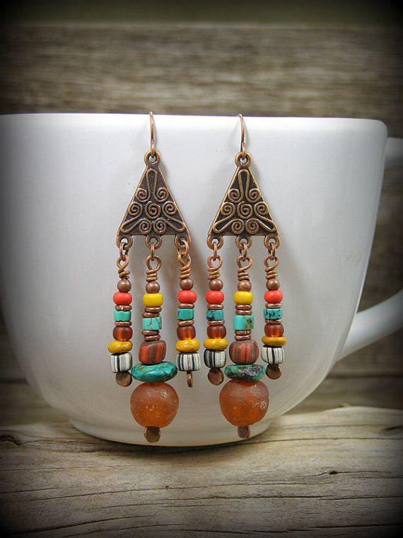 Bohemian Earrings, Chandelier Earrings, Tribal Jewelry, Native American, by StoneWearDesigns