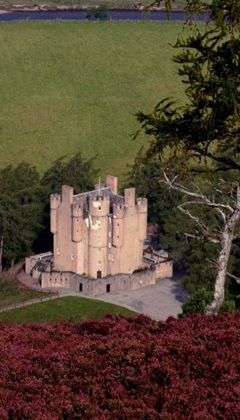 Great aerial shot of Braemar Castle, Cairngorms National Park, Aberdeenshire, Scotland