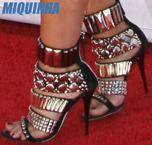 MIQUINHA Summer Fashion Rhinestone Straps Women Open Toe Sandals Cut Out Style Ladies Luxury High Heels Sexy Club Shoes Size 42