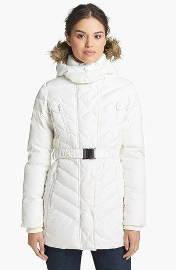 Sam Edelman Faux Fur Trim Belted Down Jacket available at #Nordstrom