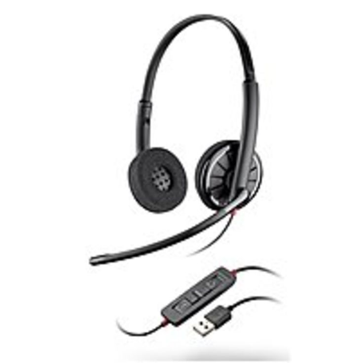 Plantronics Blackwire 300 Series 85619-02 C320 USB Corded Headset - Over-the-Head - Binaural - Noise Cancelling - Semi-open