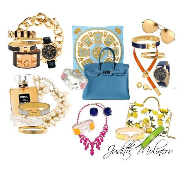 """Hermés sets"" by judith-molinero-fashion on Polyvore featuring Pluma, Hermès, Cartier, Chanel, Dolce&Gabbana, Versace, Alexander McQueen, Geneva, Pim + Larkin and Tory Burch"