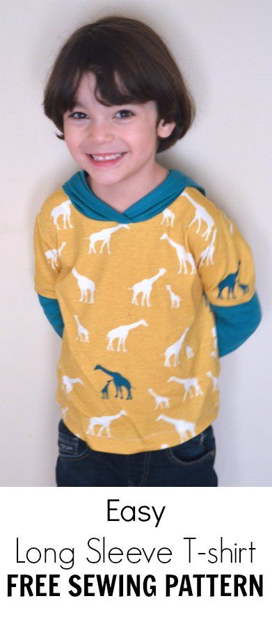 Easy Long Sleeve T-shirt with hoodie PDF pattern: Sew a quick and easy t-shirt for kids. Sewing pattern included for FREE!