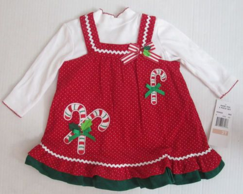Rare too girls size 3 6 9 months christmas hoilday red white dress