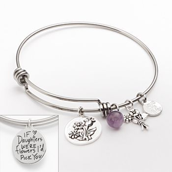 Love This Life Silver Plated And Stainless Steel Amethyst Bead Flower Charm Daughter Bangle Bracelet Women S Purple