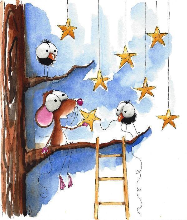 Original watercolor painting whimsical Mouse bird crow tree hanging stars #IllustrationArt