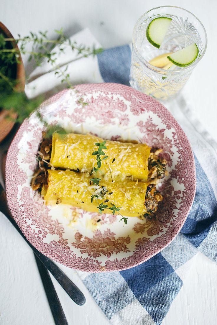 recept cannelloni med svamp och spenat