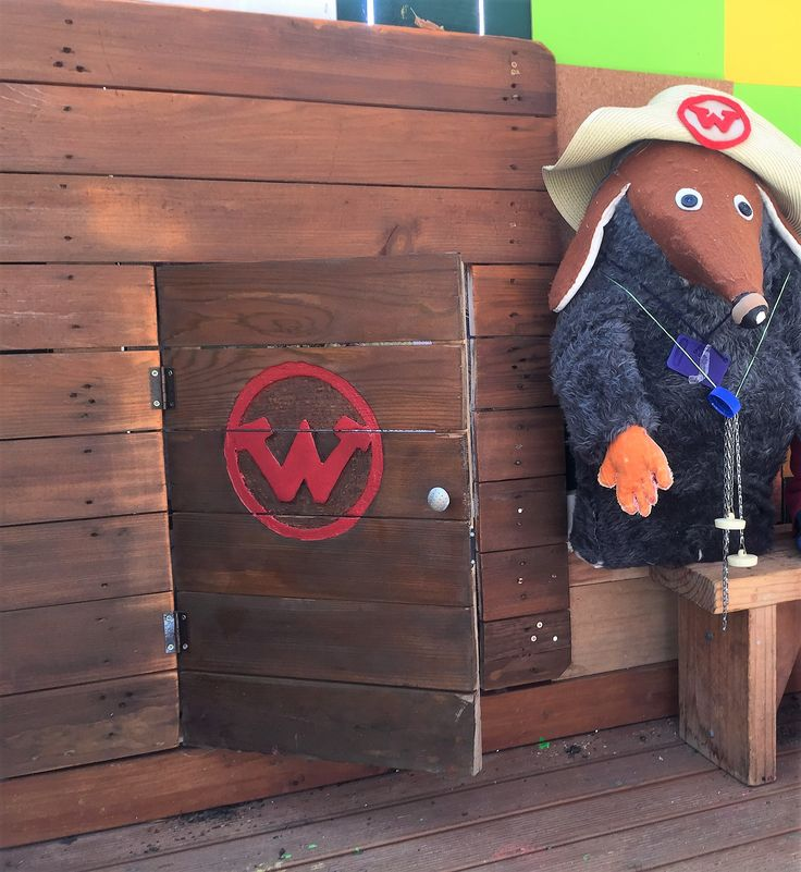 Walter's Womble door along the back fence and letting Walter through to help at Springlands School