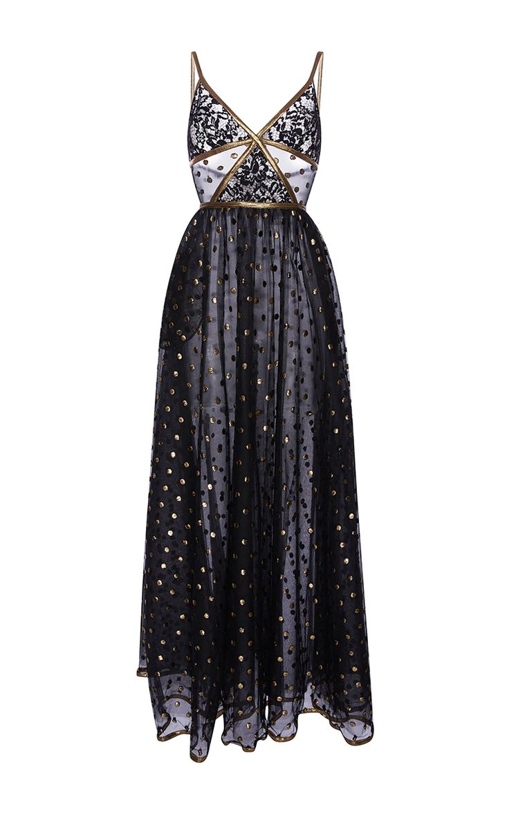 Lace Maxi Dress With Gold Embroidered Detail by ELIE SAAB for Preorder on Moda Operandi