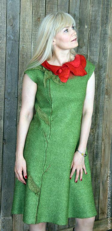 Платья ручной работы. Платье валяное Экзотический цветок. Марина Власенко…
