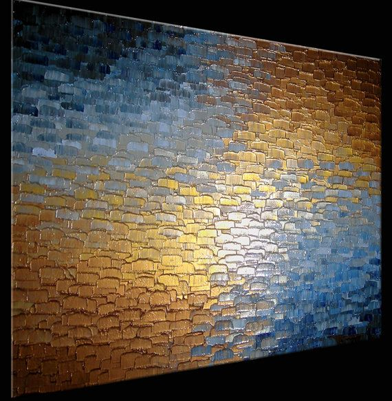 Original Abstract Gold Metallic Painting Palette by Laffertyart