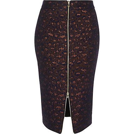 Navy blue metallic zip-up pencil skirt £35.00