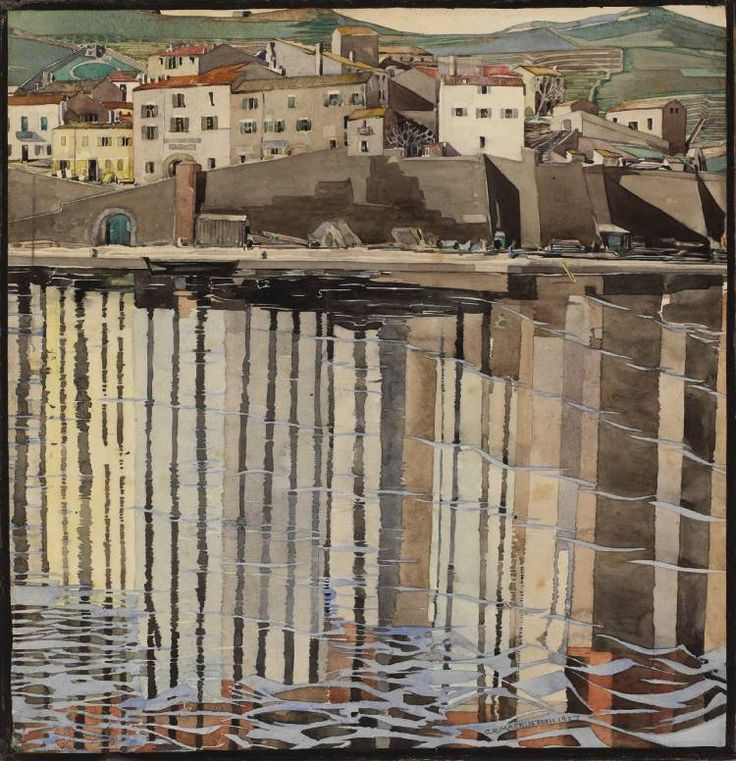"Charles Rennie Macintosh - La Rue du Soleil, Port Vendres"" water colour 1926   Held within the Macintosh collection at Hunterian Art Gallery - catologue number GLAHA 41039"