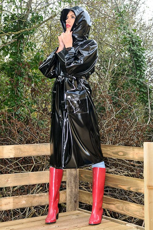 Shiny Black Plastic Raincoat