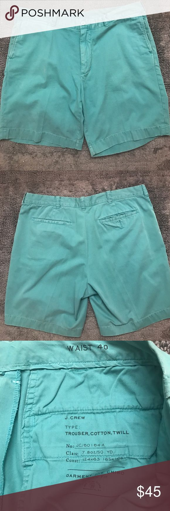 J Crew Light Turquoise Shorts Lightly worn, great condition! Size 40 J. Crew Shorts Flat Front